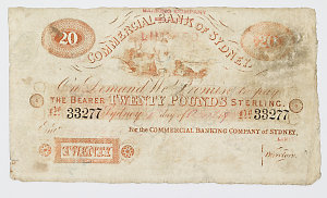 Item 141: Commercial Banking Company of Sydney Limited, banknote, twenty pounds, 1908