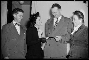 Cheque presented at American Club to Mrs Macleod - Spastic Centre, 2 July 1949 / photographs by Milton Kent