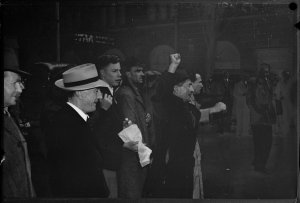 Demonstrators at Arbitration Court, 11 July 1949 / photograph by Milton Kent