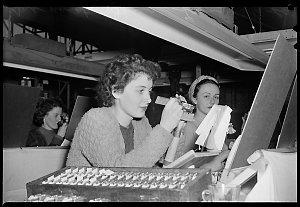 Girls at Tasma Radio - Shirley Langley of Herne Bay & Margaret Jones of Mascot, 23 June 1949 / photographs by Milton Kent