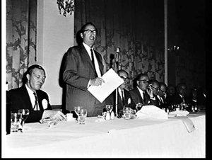 Australian British Trade Association (ABTA) Council lunch with BOAC Chairman Sir Giles Guthrie as guest speaker, Hotel Australia