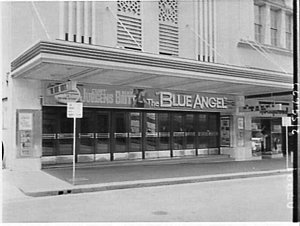 Exterior of Century Theatre advertising the film The Blue Angel