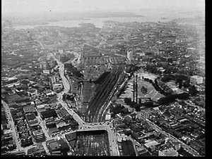 Aerial photograph of the Central Station and Redfern railway station areas