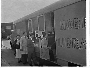 City of Sydney mobile public library in a semi-trailer at CIG factory, Alexandria