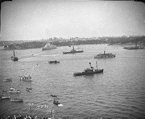 Boats and ferries in the Harbour and HMAS Canberra, Farm Cove, Sydney Harbour Bridge Celebrations, 1932