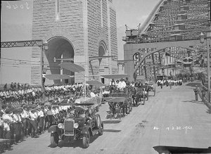 World's first auto-gyro plane (helicopter) and carriages in procession, Sydney Harbour Bridge Celebrations, 1932