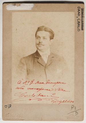 Carlo Dani, tenor, 1902 / Talma, 374 George St. Sydney.
