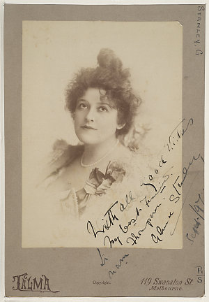 Alma Stanley, English actress, comedienne and singer, Sept. 1897 / Talma, 119 Swanston St., Melbourne