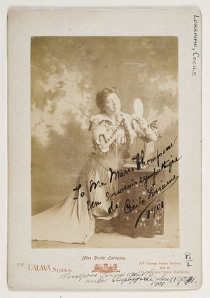 """Cecile Lorraine [as Marguerite in the Gounod opera """"Faust""""] / Talma & Co., 374 George St, Sydney, and at 114 [sic] Swanston St., Melbourne [1901]"""