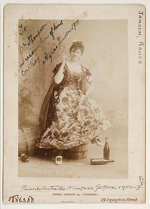 Agnes Janson, Swedish mezzo-soprano, as Carmen, 1900 / photographer Talma, 119 Swanston Street, Melbourne