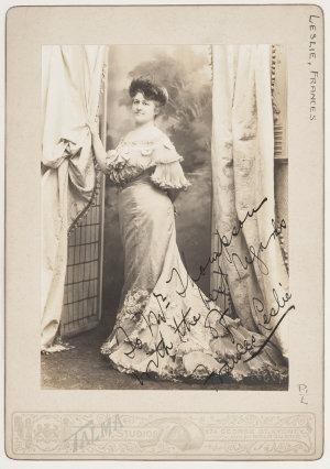 Frances Leslie [later Fannie Leslie] / Talma Studios, 374 George St., Sydney and at Melbourne [ca. 1903]