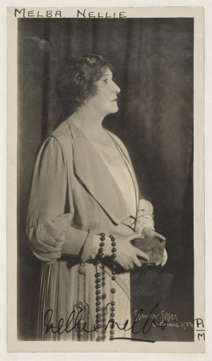 """Dame Nellie Melba [as Marguerite in """"Faust""""] / Spencer Shier, Melbourne, 1924"""
