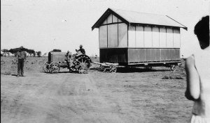 """Moving a shed on """"Baldon"""" station by McCormack Deering tractor - Moulamein, NSW"""