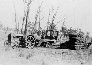 During a very wet period the old Ford did not always stop on top of the ground, and at times had to be unloaded and helped out with the Fordson - Near Cookamidgera, NSW (10 miles east of Parkes)