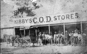 Street scene of miners outside store - Temora, NSW