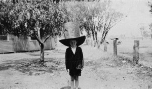 1st Prize largest hat, 2nd Prize best homemade hat. Children's Hatters' Ball, Boree Creek, NSW - Public School, Boree Creek, NSW