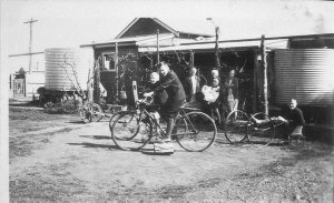 Boys in a bicycle-powered billycart at 'Craigendoran', Asquith Street - Temora, NSW