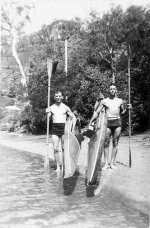 Canoeing on Woronora River. The homebuilt canoes weighed 30-50 lbs. each - Woronora River, NSW