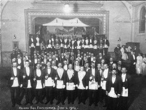 Masonic ball, note gas light and hurricane lights - Cootamundra Town Hall, NSW