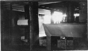 Underneath Sydney Jones' house, showing troughs and mangles. [See also BCP 00639 (exterior)] - Brisbane, QLD