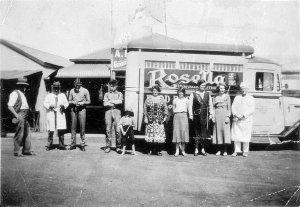 Visiting Rosella Salesman outside Arthur Bartley's general store - Byrock, NSW