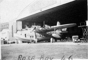Short Sunderland flying boat in hangar - Rose Bay, NSW