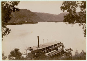"""View - Hawkesbury River [including paddle wheel ferry """"General Gordon""""]"""