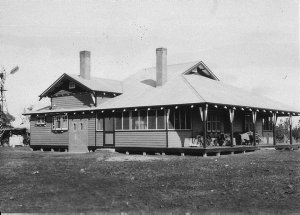 """Homestead, newly built by Mr Bert Irvine for Archie Simpson. Timber was cut on """"Elgin"""" from Pine trees - Deniliquin, NSW"""