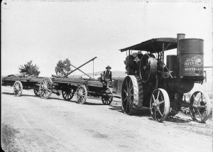 Buffalo Pits. Steam traction engine hauling timber - Tenterfield, NSW