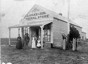 John Hicks (1835-1912) owned store. His son, Jim (1861-1923), is second from right and Sarah, his daughter (1880-1970), is on far right - Corop near Rushworth, VIC