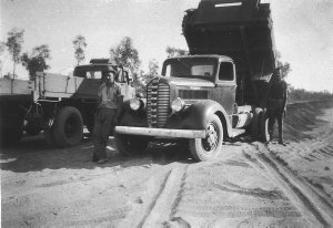 Road construction crew. Civil Construction Corps. Because of imminent Japanese invasion, they had to construct 90 miles of road in 90 days - Darwin area, NT
