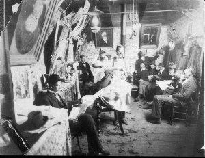 Interior of George Matthew's hairdressing salon - Glen Innes, NSW
