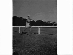 Alan Lawrence, long distance runner, Centennial Park, trains for Australian 10,000 metre race and the Olympic Games (just after breaking both the 2 and 3 mile indoor records)