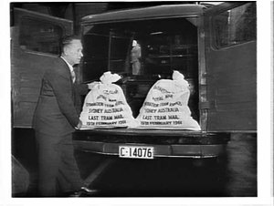 Last mail by tram (1882-19 Feb. 1961) in inscribed PMG mailbags, Sydney