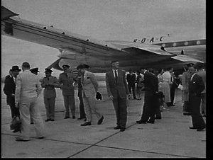 Australian official party greets visiting British Prime Minister, Harold Macmillan's delegation at Richmond RAAF base