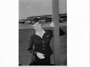Robin Insull, B.O.A.C. air hostess, Mascot Airport