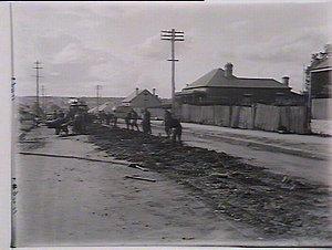 Tramlines being pulled up near Falcon Street, Parramatta