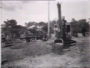 Steam shovel near railway station, Lane Cove Rd