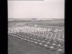 Panorama. Demonstration of school children. Flag Drill