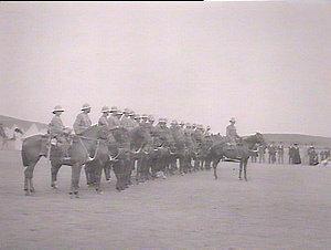 Bushmen's Contingent: troops at Kensington Racecourse