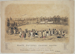Grand national cricket match, played in the Outer Domain, Sydney, Jan. 14th, 15th & 16th, 1857