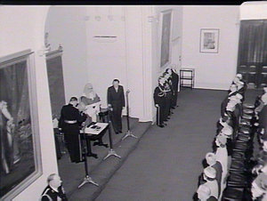 Swearing in of Sir Eric Woodward as Governor of NSW