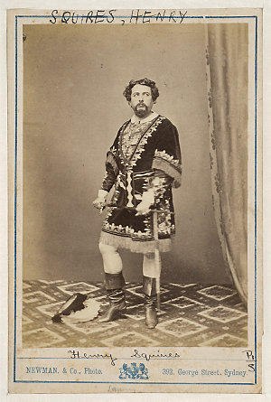 Henry Squires, American tenor, in unidentified costume, [1870-1880] / Newman & Co., Photo., 392 George Street, Sydney ; J.R. Clarke, publisher & importer of photographs, 317 George St., Sydney