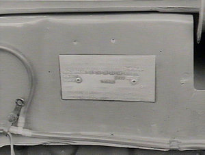 Makers' IB plate over engine