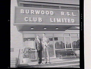 Premier Wran & Mr Phil O'Neill, local MP, outside Burwood RSL