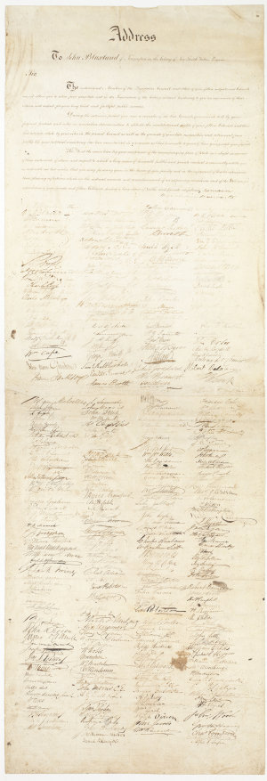 Portfolio of miscellaneous petitions, addresses, etc., 1844-1951