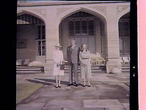 Princess Anne, Sir Roden & Lady Cutler in garden