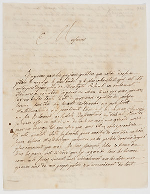 Series 06.145: Letter of application to join Pacific voyage, received by Banks and possibly Daniel Solander, from Jaques [sic] Philippe Bruguiere, 4 April 1772