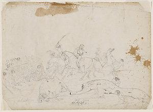 Overlanders attacking the natives / Geo. Hamilton 1846