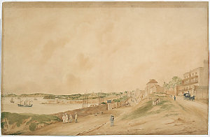[Lower George Street and Sydney Cove c.1851] / watercolour attributed to Jacob Janssen